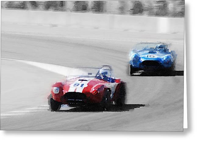 Ac Greeting Cards - AC Cobra Racing Monterey Watercolor Greeting Card by Naxart Studio
