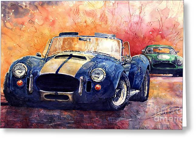 Watercolour Greeting Cards - AC Cobra Shelby 427 Greeting Card by Yuriy  Shevchuk