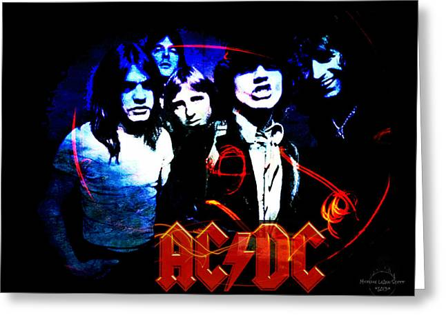Angus Young Greeting Cards - Ac/dc  Greeting Card by Absinthe Art By Michelle LeAnn Scott