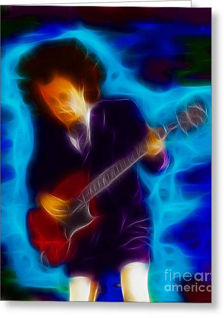 Malcolm Young Greeting Cards - AC-DC-Angus-95-A18-Fractal Greeting Card by Gary Gingrich Galleries