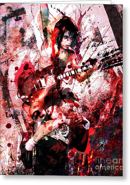 Angus Young Greeting Cards - AC DC Original  Greeting Card by Ryan RockChromatic