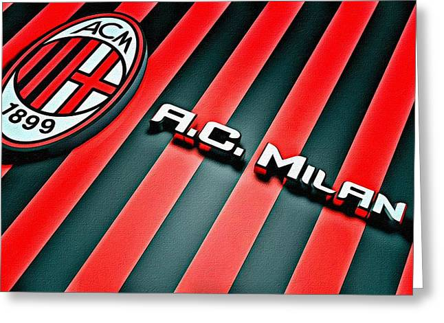 Uefa Champions League Greeting Cards - AC Milan Poster Art Greeting Card by Florian Rodarte