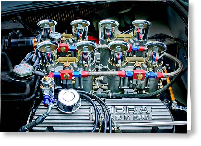 Ac Greeting Cards - AC Shelby Cobra Engine Greeting Card by Jill Reger