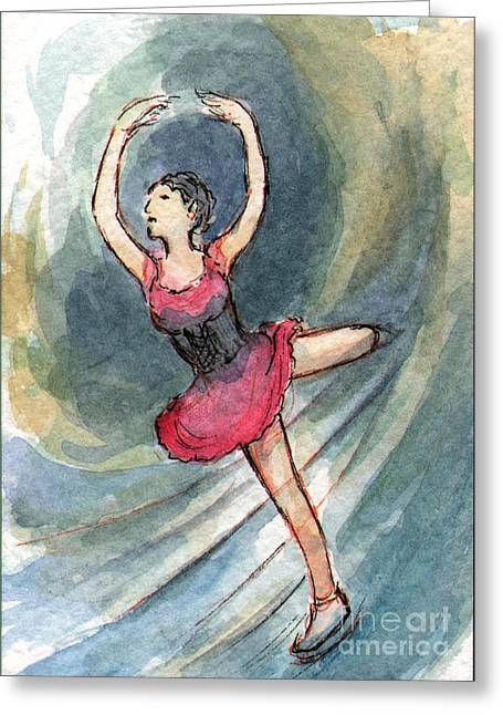 Strech Greeting Cards - Ac243 Figure Skater Red Greeting Card by Kirohan Art