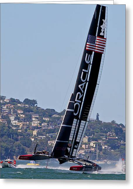 Americas Cup Greeting Cards - Americas Cup Winner Oracle Greeting Card by Steven Lapkin