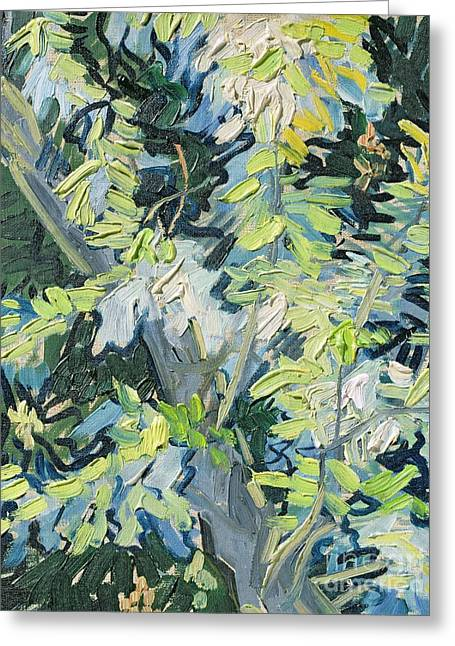 Tree. Acacia Greeting Cards - Acacia in Flower Greeting Card by Vincent van Gogh