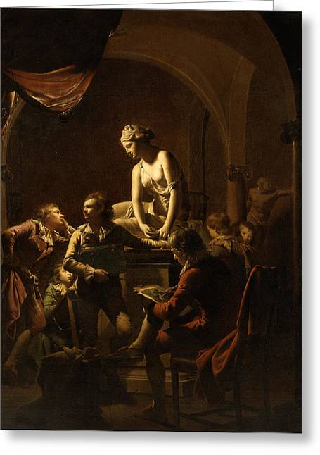 Lamplight Greeting Cards - Academy by Lamplight  Greeting Card by Joseph Wright of Derby