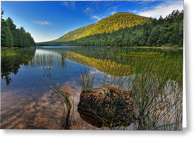 Carriage Road Greeting Cards - Acadia National Park-Bubbles Pond Greeting Card by Thomas Schoeller