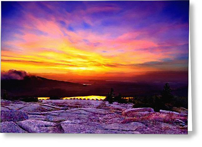 Maine Shore Greeting Cards - Acadia National Park Cadillac Mountain Sunrise ForSale Greeting Card by  Bob and Nadine Johnston