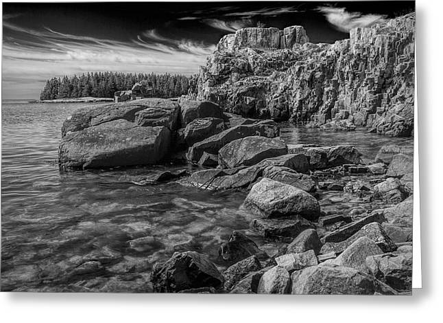 Thorn Apple Greeting Cards - Acadia National Park Shore Rock Formations Greeting Card by Randall Nyhof