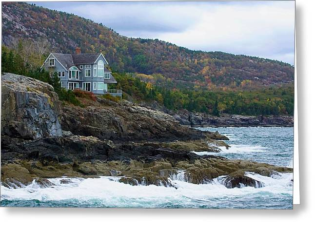 Maine Shore Greeting Cards - Acadia Seaside Mansion Greeting Card by Stuart Litoff