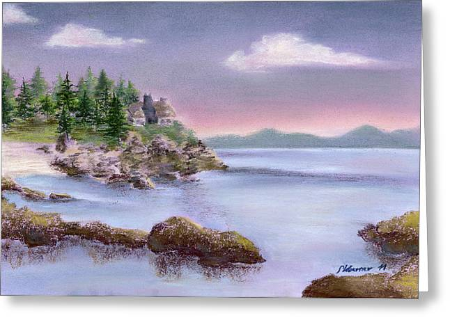 Maine Landscape Pastels Greeting Cards - Acadia Sunrise Schooner Head Greeting Card by Stephanie Woerner