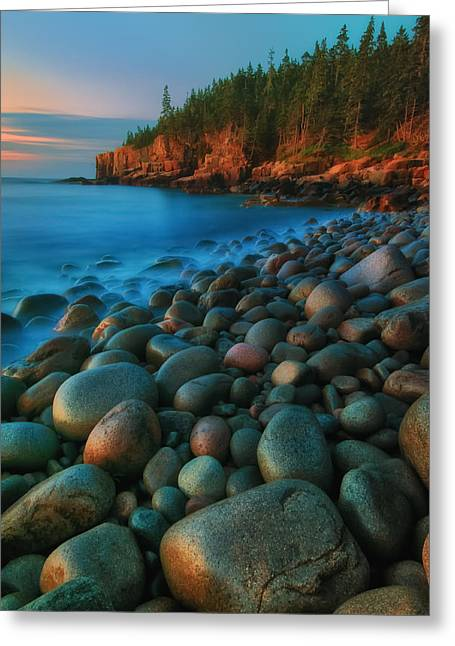 Maine Beach Greeting Cards - Acadian Dawn - Otter Cliffs Greeting Card by Thomas Schoeller