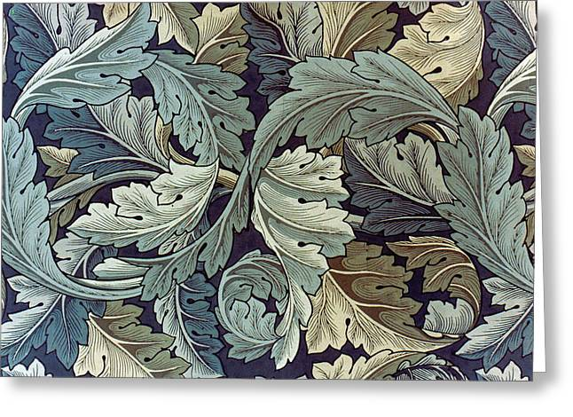 Wallpaper Tapestries Textiles Greeting Cards - Acanthus Leaf Design Greeting Card by William Morris