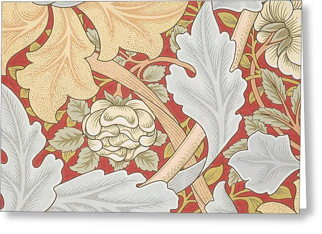 Repeat Drawings Greeting Cards - Acanthus Leaves Wild Rose on Crimson Background Greeting Card by William Morris
