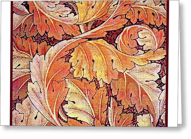 Vine Leaves Greeting Cards - Acanthus Vine Design Greeting Card by William Morris