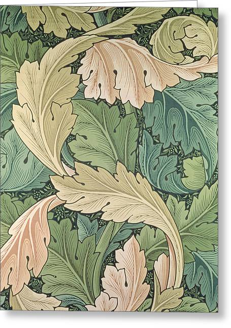 Leaves Tapestries - Textiles Greeting Cards - Acanthus wallpaper design Greeting Card by William Morris
