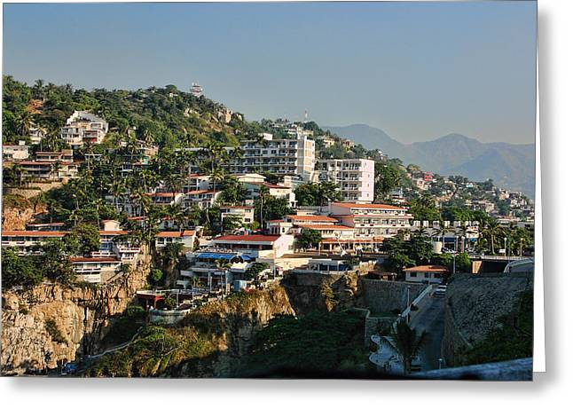 Acapulco Greeting Cards - Acapulco Hillside Living Greeting Card by Linda Phelps