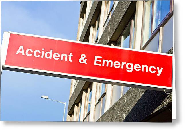 Accident And Emergency Greeting Card by Tom Gowanlock