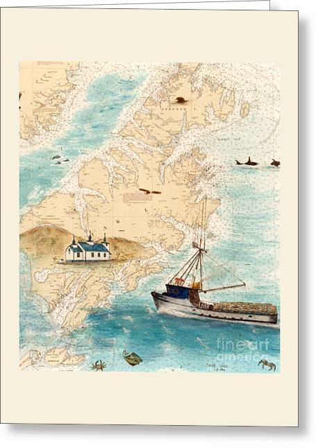 Accomplice Greeting Cards - ACCOMPLICE Kodiak Crab Fishing Boat Nautical Chart Map Art Greeting Card by Cathy Peek