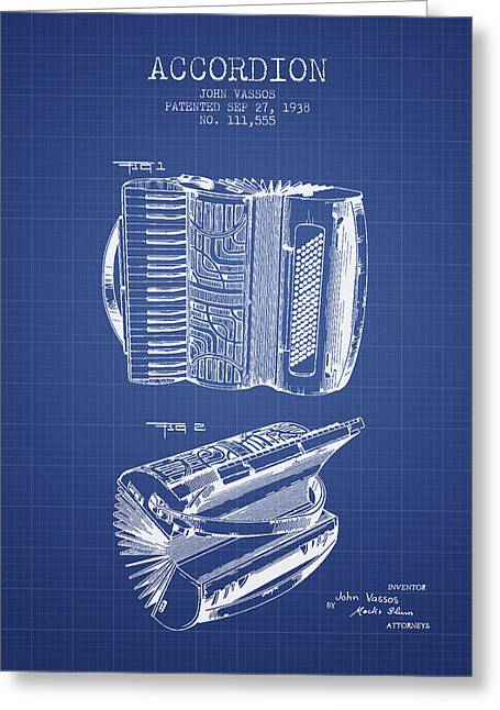 Accordion Greeting Cards - Accordion Patent from 1938 - Blueprint Greeting Card by Aged Pixel