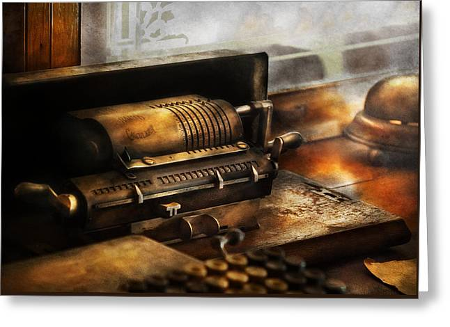Steam-punk Greeting Cards - Accountant - The Adding Machine Greeting Card by Mike Savad