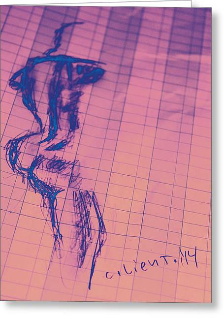 At Work Drawings Greeting Cards - Accounting a Figure Greeting Card by Carolina Liechtenstein