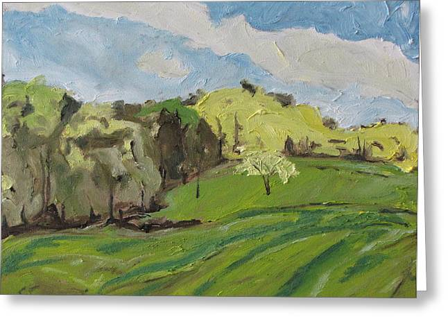 Francois Fournier Greeting Cards - Accros A Spring Field Greeting Card by Francois Fournier