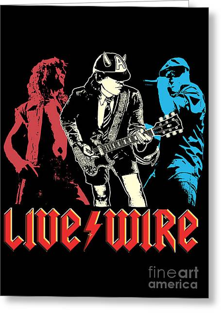 Live Music Greeting Cards - ACDC No.02 Greeting Card by Caio Caldas
