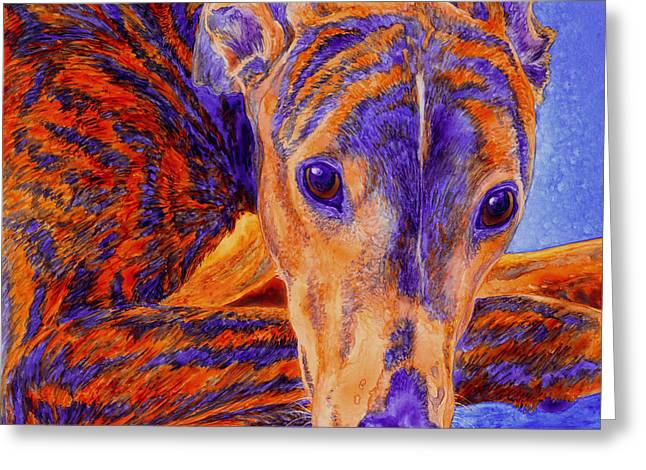 Greyhound Dog Greeting Cards - Ace Greeting Card by Ann Ranlett