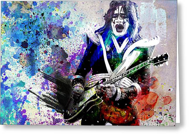 Rock N Roll Greeting Cards - Ace Frehley - Kiss Original Painting Print Greeting Card by Ryan RockChromatic
