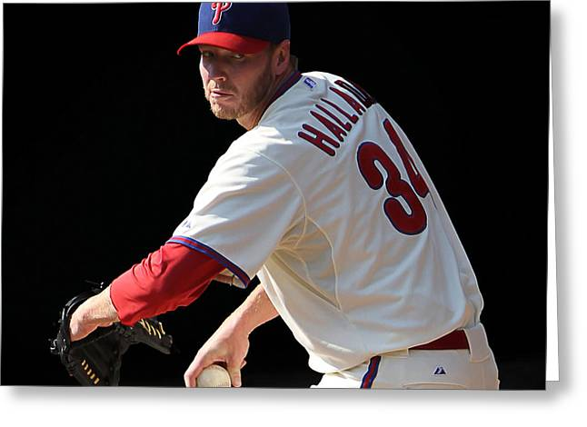 Roy Halladay Greeting Cards - Ace in Stretch Greeting Card by Bryan Maransky