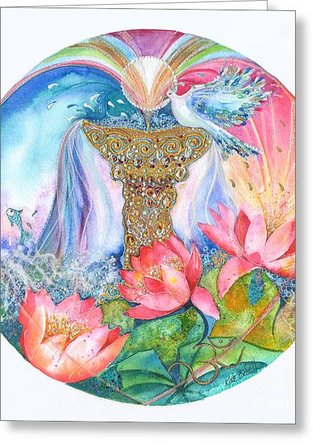 Grail Greeting Cards - Ace of Cups Mandala Greeting Card by Kate Bedell