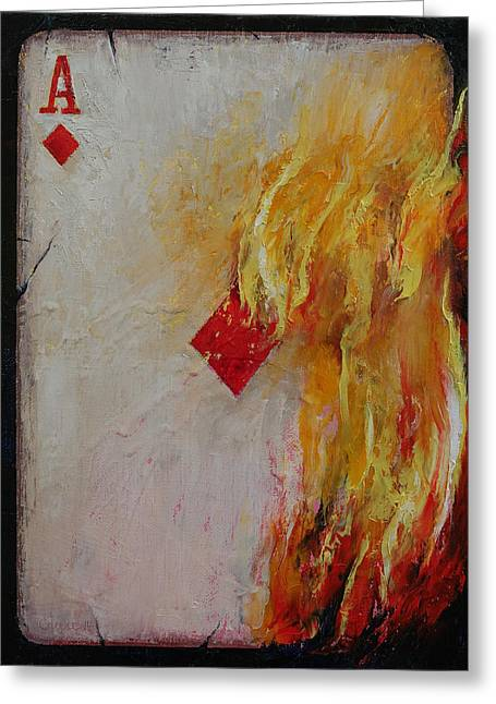 Las Vegas Art Paintings Greeting Cards - Ace of Diamonds Greeting Card by Michael Creese