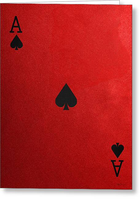 Playing Cards Greeting Cards - Ace of Spades in Black on Red Canvas   Greeting Card by Serge Averbukh