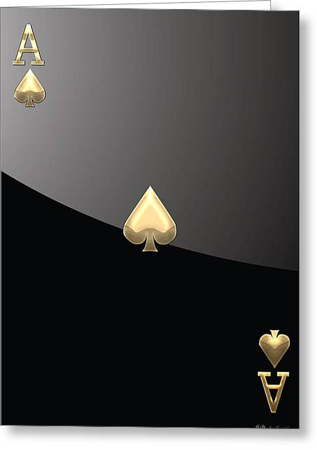 Playing Cards Greeting Cards - Ace of Spades in Gold on Black   Greeting Card by Serge Averbukh