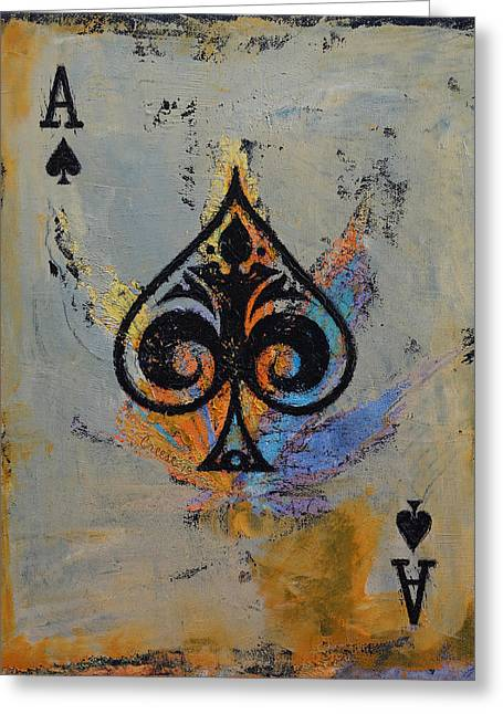 Spade Greeting Cards - Ace Greeting Card by Michael Creese