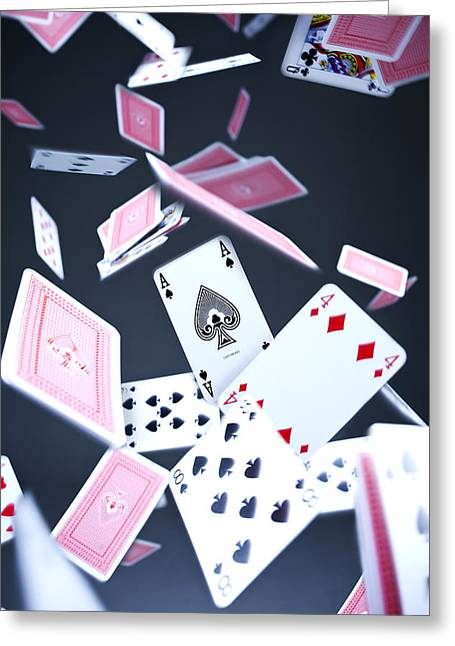 Playing Cards Photographs Greeting Cards - Ace of Spades Greeting Card by Samuel Whitton
