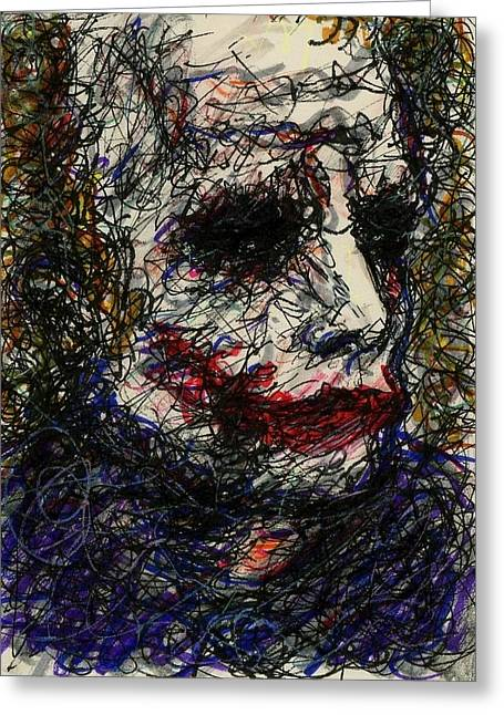 Christopher Nolan Greeting Cards - ACEO Joker I Greeting Card by Rachel Scott