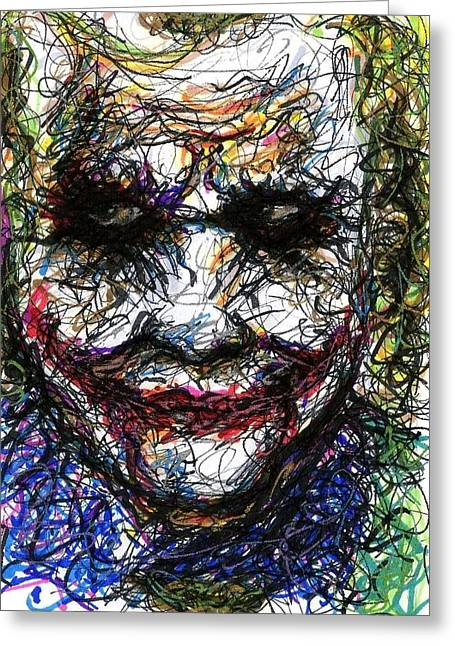 Christopher Nolan Greeting Cards - ACEO Joker II Greeting Card by Rachel Scott