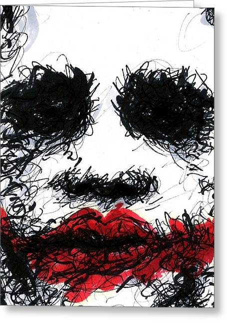 Christopher Nolan Greeting Cards - ACEO Joker III Greeting Card by Rachel Scott