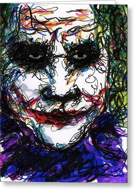 Christopher Nolan Greeting Cards - ACEO Joker IV Greeting Card by Rachel Scott