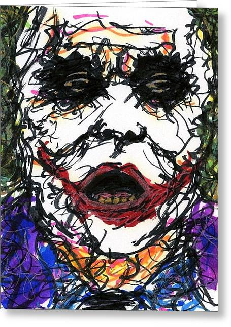 Christopher Nolan Greeting Cards - ACEO Joker VI Greeting Card by Rachel Scott