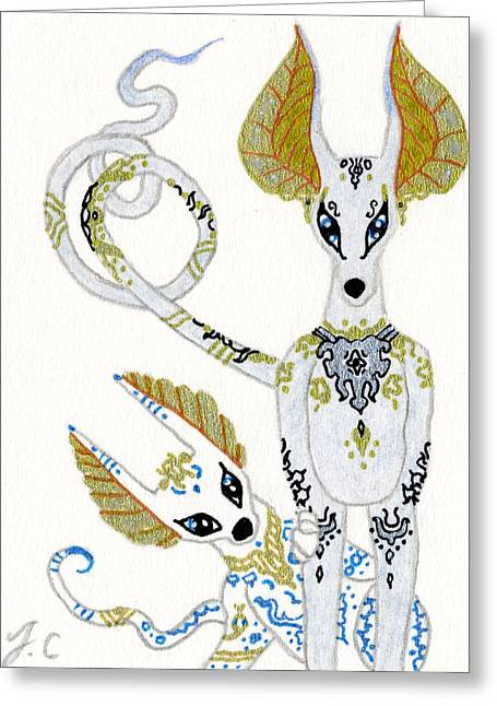 Pharaoh Mixed Media Greeting Cards - ACEO Porcelain jackal dogs Greeting Card by Jennifer  Anne Esposito
