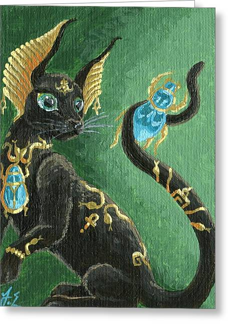 Beetle Cat Greeting Cards - ACEO Scarab Jewel Cat Greeting Card by Jennifer  Anne Esposito