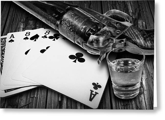 Playing Cards Greeting Cards - Aces and Eights with Shot Glass and Revolver Greeting Card by Randall Nyhof