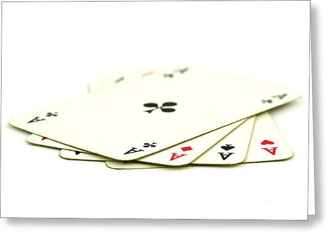 Playing Cards Photographs Greeting Cards - Aces Greeting Card by Blink Images