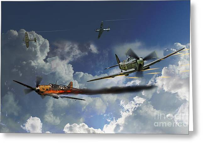 Spitfire Greeting Cards - Aces High Greeting Card by J Biggadike