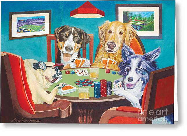 Golden Retriever Cards Greeting Cards - Aces Run Wild Greeting Card by Lisa Hershman