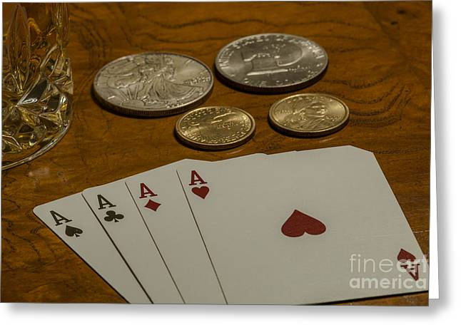 High Stakes Greeting Cards - Aces Win Greeting Card by Dale Powell